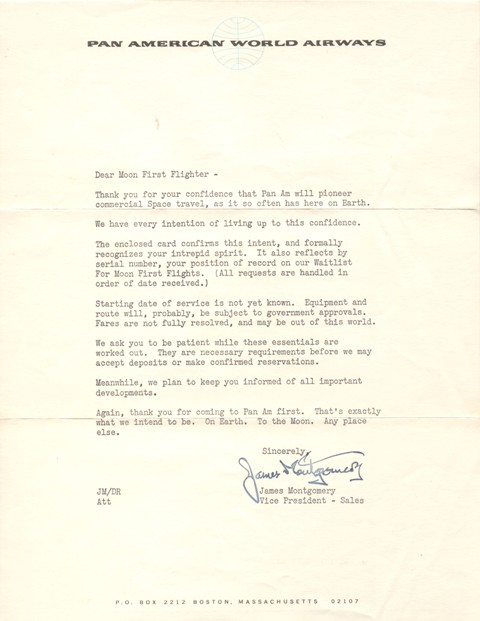 Pan Am - Moon Flight Letter